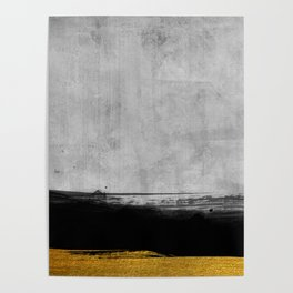 Black and Gold grunge stripes on modern grey concrete abstract backround I - Stripe - Striped Poster