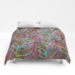 Tropical Burst, pink and green leaf pattern Comforters
