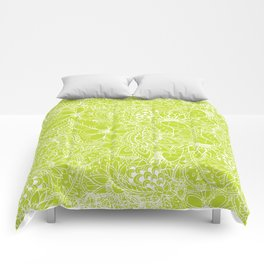 Modern white hand drawn floral lace illustration on lime green punch Comforters