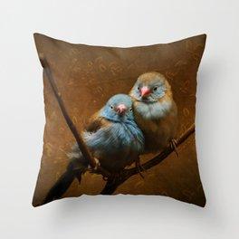 Male and Female Cordon Bleu Canaries Throw Pillow