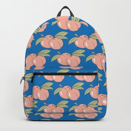 Two peaches on blue Backpack
