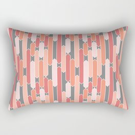 Modern Geometric Tabs in Coral, Pink, Gray and Peach Rectangular Pillow
