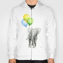 Elephant Watercolor Baby Animal with Balloons Blue Yellow Green Hoody