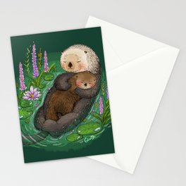 Sea Otter Mother & Baby Stationery Cards