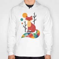 purple Hoodies featuring Rainbow Fox by Andy Westface