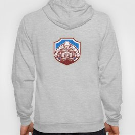 Strongman Lifting Dumbbells Shield Retro Hoody