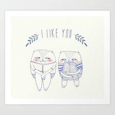 I like you cat Art Print
