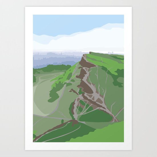 Salisbury Crags and Edinburgh from Arthur's Seat Art Print
