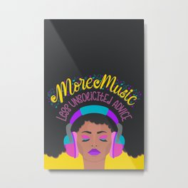 More Music: Woman with Headphones Metal Print