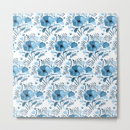 Flower bouquet with poppies - blue Metal Print
