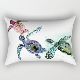 Sea Turtle Family, family art Rectangular Pillow