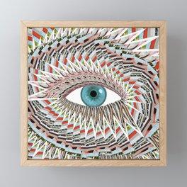 Origami Chakra Eye - Aqua Marine Blue Framed Mini Art Print