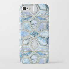 Geometric Gilded Stone Tiles in Soft Blues iPhone 7 Slim Case