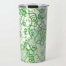 Green on green faces Travel Mug