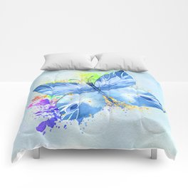 Blue Butterfly Watercolor Rainbow And Gold Comforters