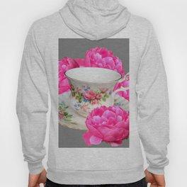 FLORAL TEA CUP & PEONY FLOWERS YELLOW ART Hoody