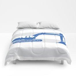 excavator blue Comforters
