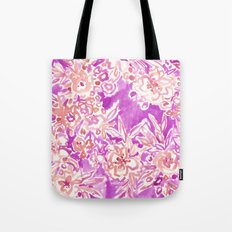 TROPICAL FLAIR Pink Watercolor Floral Tote Bag