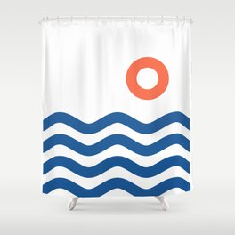 Nautical 02 Seascape Shower Curtain