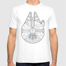 Millenium Falcon. SMALL White Mens Fitted Tee