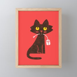 Fitz - Hungry hungry cat (and unfortunate mouse) Framed Mini Art Print