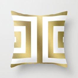 Gold Greek Stripes Throw Pillow