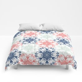 Floral in Aqua, Coral Red and Navy Blue Comforters