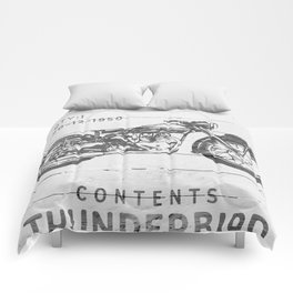 Vintage Triumph Thunderbird Motorcycle Comforters