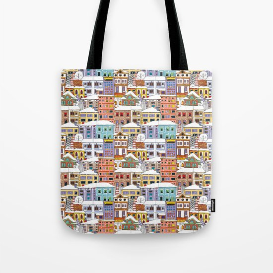 Winter town pattern Tote Bag