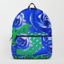 BABY BLUE CABBAGE STYLE ROSES GREEN ABSTRACT Backpack