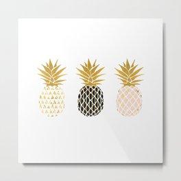 fun pineapple design gold Metal Print