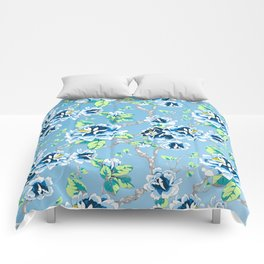 Chinoiserie Ming style Blue Floral Pattern Comforters