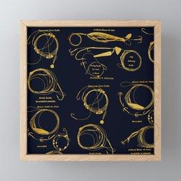 Maritime pattern- Gold fishing gear on darkblue background Framed Mini Art Print