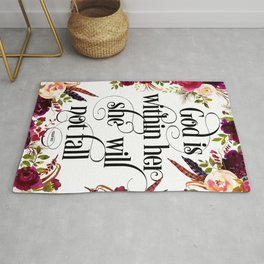 Christian Quote - God Is Within She Will Not Fall Rug