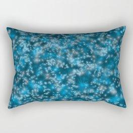 Turquoise Blue Field of Stars Rectangular Pillow