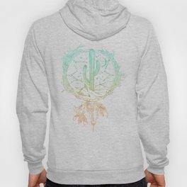 Desert Cactus Dreamcatcher Turquoise Coral Gradient on White Hoody