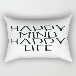Happy Mind Happy Life, Motivational Quote, Be Happy Poster, Home Decor Rectangular Pillow
