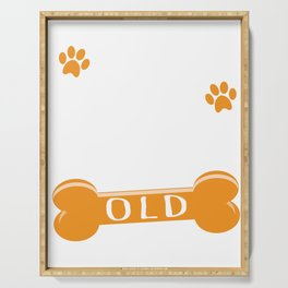 77 Dog Years Old Funny 11th Birthday Puppy Lover graphic Serving Tray