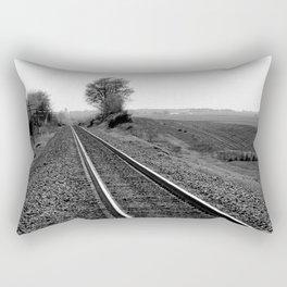 Black and white train track photo Rectangular Pillow
