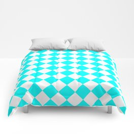 Diamonds - White and Aqua Cyan Comforters
