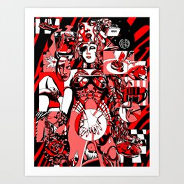 Completion red pink black Art Print