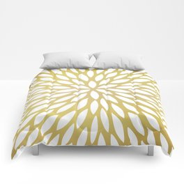 White Leaves on Gold Comforters
