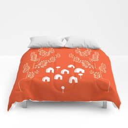 Line Vine Village in Red, Line Art Community Comforters