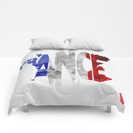 France Typographic World Map / France Typography Flag Map Art Comforters