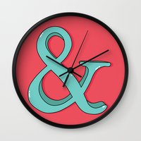 ampersand Wall Clocks featuring Ampersand by Chelsea Herrick