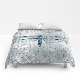 Gemstone Dragonfly on sacred geometry pattern Comforters