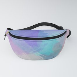 brush painting texture abstract background in blue pink purple Fanny Pack