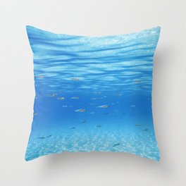 School of Fish Swimming over Sand Bottom in the Tropical Sea Throw Pillow