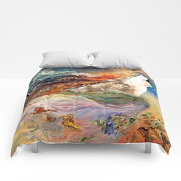 The spirit Wolf Abstract Comforters