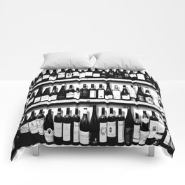 Wine Bottles in Black And White #society6 #decor Comforters
